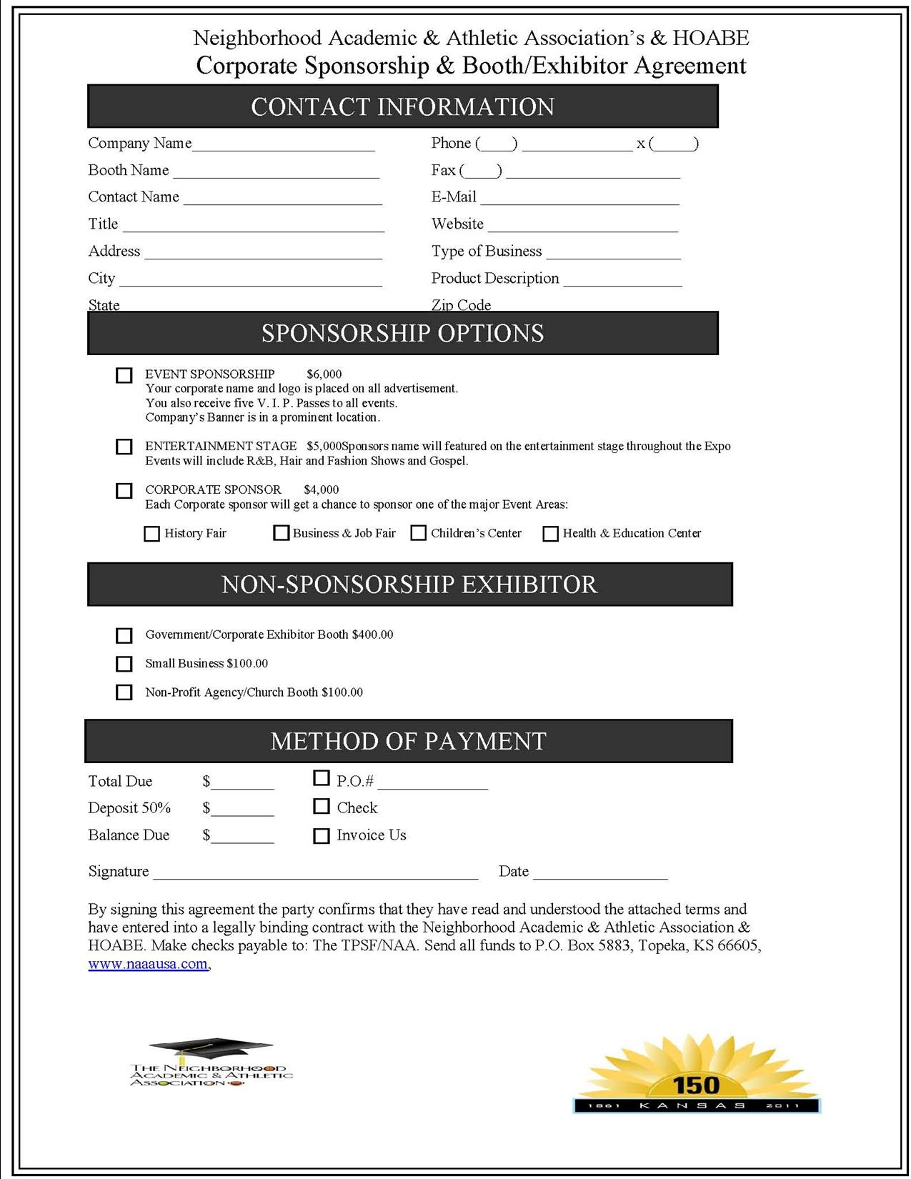 2013 Heart of America Black Booth  Sponsorship Form 7-10-2013